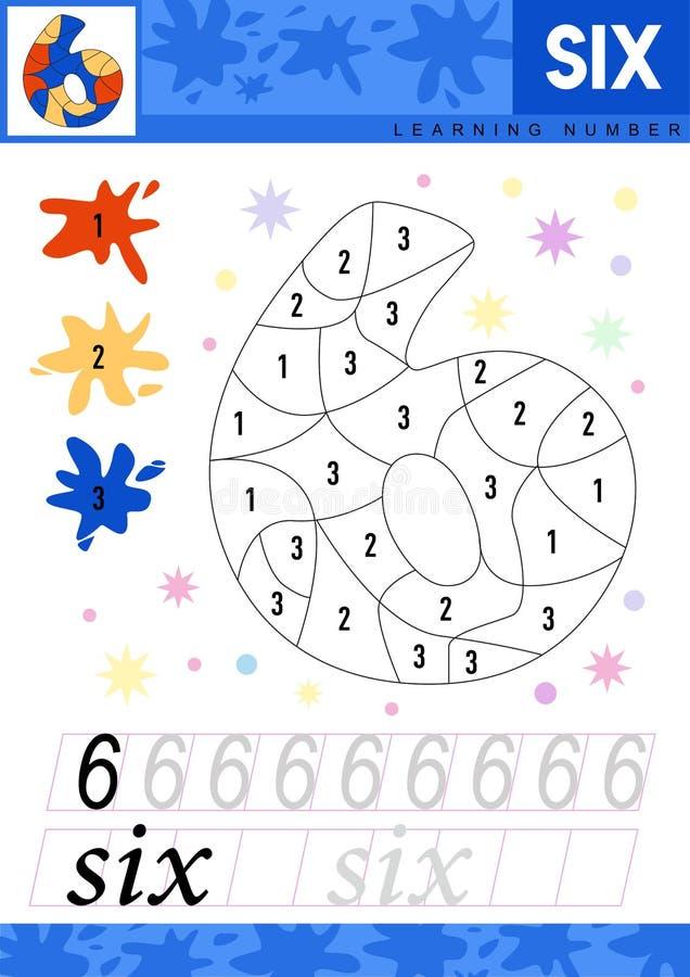 Apprenez les numéros 6 six Les enfants apprennent à compter la fiche de travail Jeu éducatif d'enfants pour des nombres Illustrat illustration stock