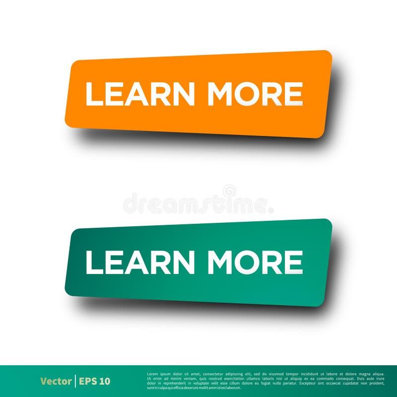 Apprenez plus de conception d'illustration de calibre de vecteur d'icône de bouton de bannière de lettre Vecteur ENV 10 illustration de vecteur