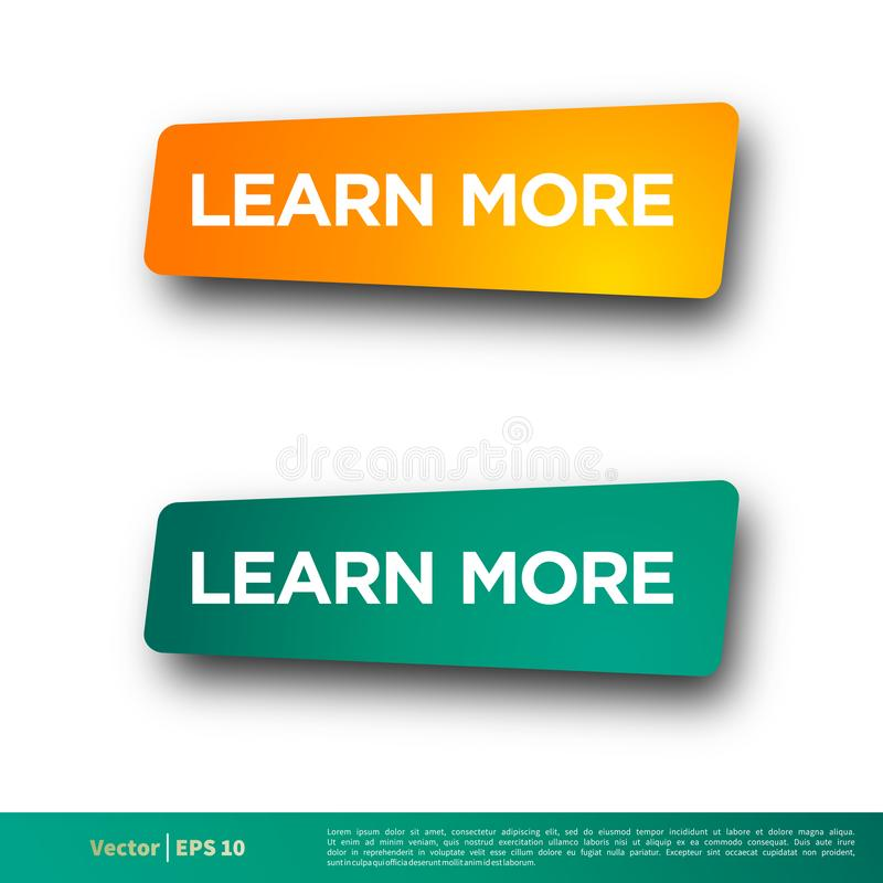 Apprenez plus de conception d'illustration de calibre de vecteur d'icône de bouton de bannière de lettre Vecteur ENV 10 illustration stock