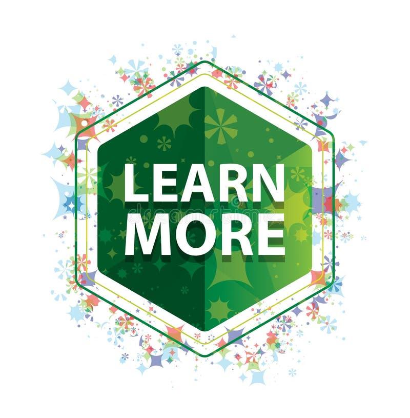 Apprenez que des usines plus florales modèlent le bouton vert d'hexagone illustration stock