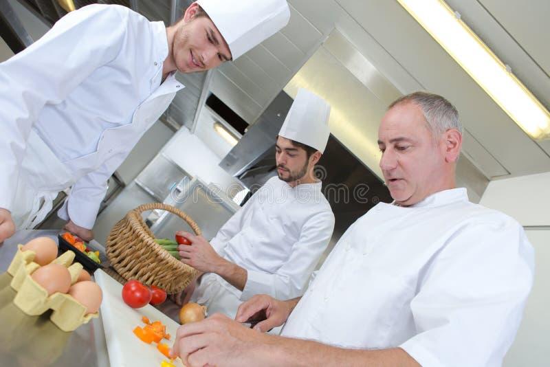 2 apprentices кашевары уча от шеф-повара стоковая фотография