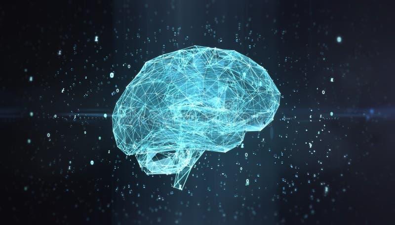 Apprentissage automatique, calculs de brouillard, intelligence artificielle, AI, concept de étude profond de réseau neurologique  illustration de vecteur