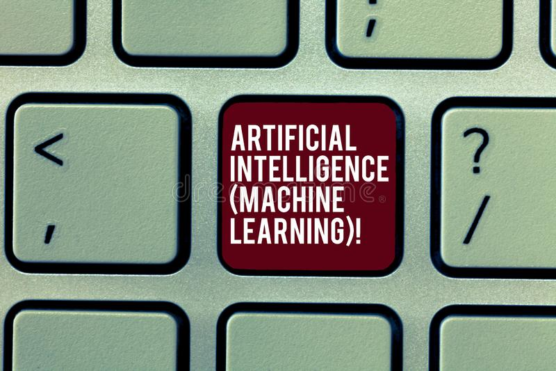 Apprentissage automatique d'intelligence artificielle des textes d'écriture Robots de technologie de signification de concept les photos stock