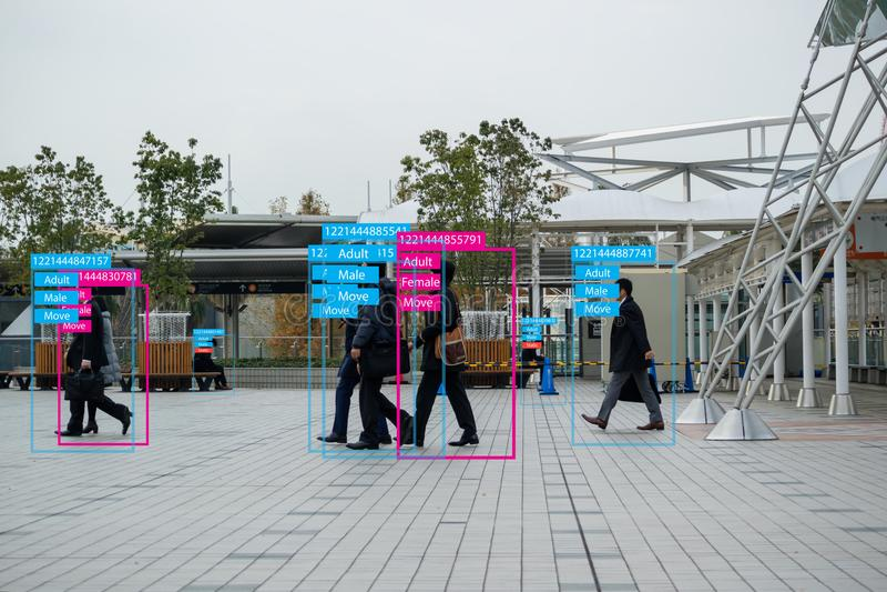Apprentissage automatique d'Iot avec la reconnaissance d'humain et d'objet qui emploie l'intelligence artificielle à c de mesures image stock