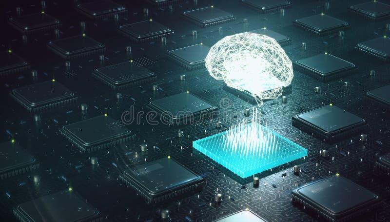 Apprentissage automatique, intelligence artificielle, AI, concept de étude profond de réseau neurologique de blockchain Cerveau f illustration stock