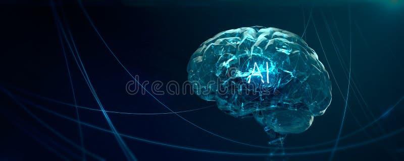 Apprentissage automatique, intelligence artificielle, AI, concept de étude profond de réseau neurologique de blockchain d'ordinat illustration stock