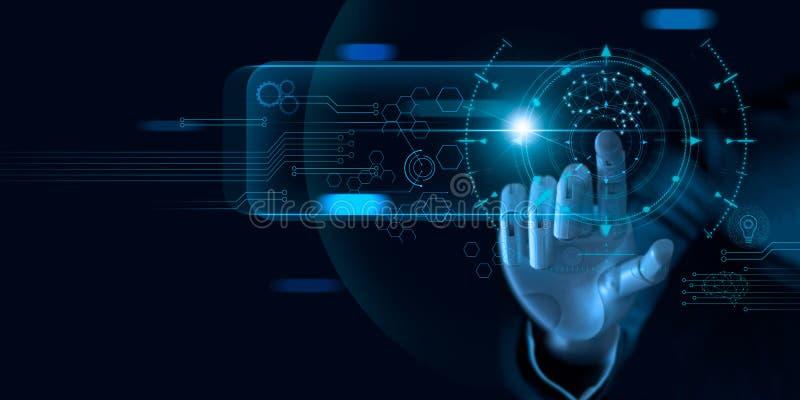 Apprentissage automatique Main de robot touchant sur des donn?es binaires Intelligence artificielle futuriste AI Profond?ment app photographie stock