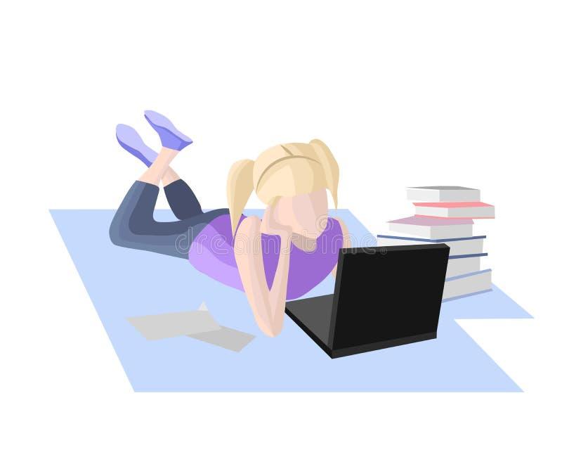 Apprentissage en ligne, fille se trouvant avec l'ordinateur portable illustration libre de droits