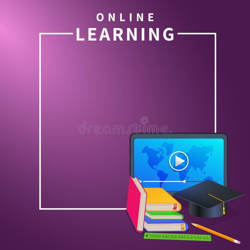 Apprentissage en ligne ou bannière en ligne de Web d'éducation sur le fond pourpre avec la frontière de cadre Cours de formation  illustration stock