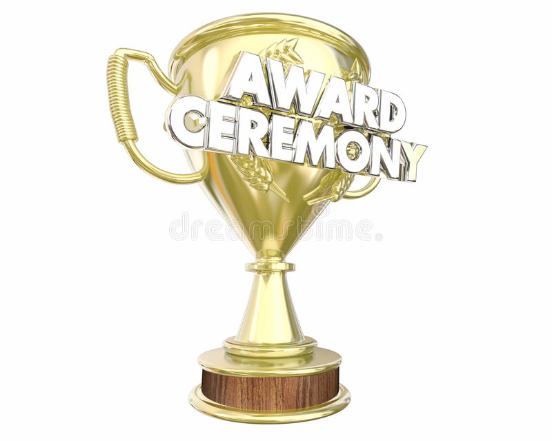 Apprezzamento di manifestazione di presentazione del trofeo di cerimonia di premiazione illustrazione vettoriale