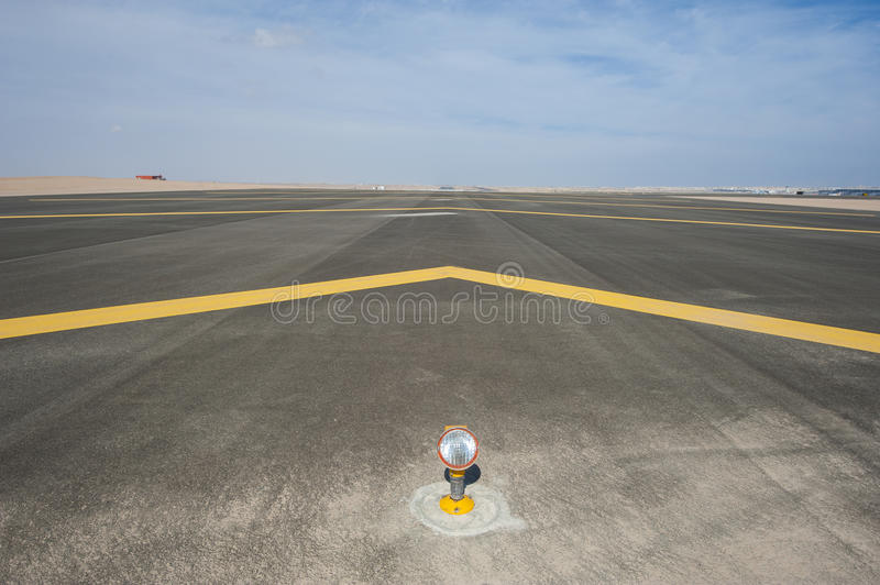 Approach light on a airport runway stock images