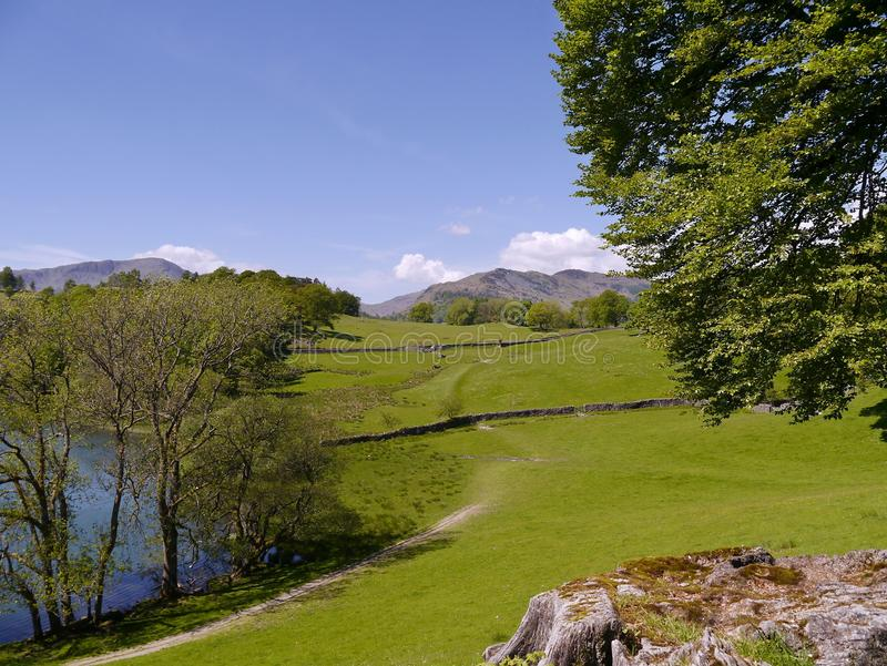 Approach path to Loughrigg Tarn. Loughrigg Tarn, a popular picnic area royalty free stock photos
