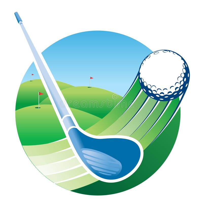 Approach to a blue golf club hitting a ball with speed lines with a green golf course with a flag in the hole in the background. royalty free illustration