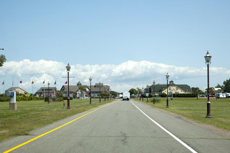 Approaching the Gateway Village in PEI. July 26, 2019: Borden Carleton, PEI: Driving along the entrance to the Gateway Village as you first enter PEI stock photos
