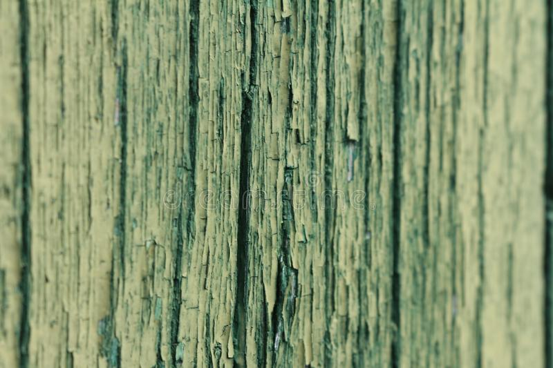 Approaching a piece of green wood, worn by time beginning to splinter. stock images