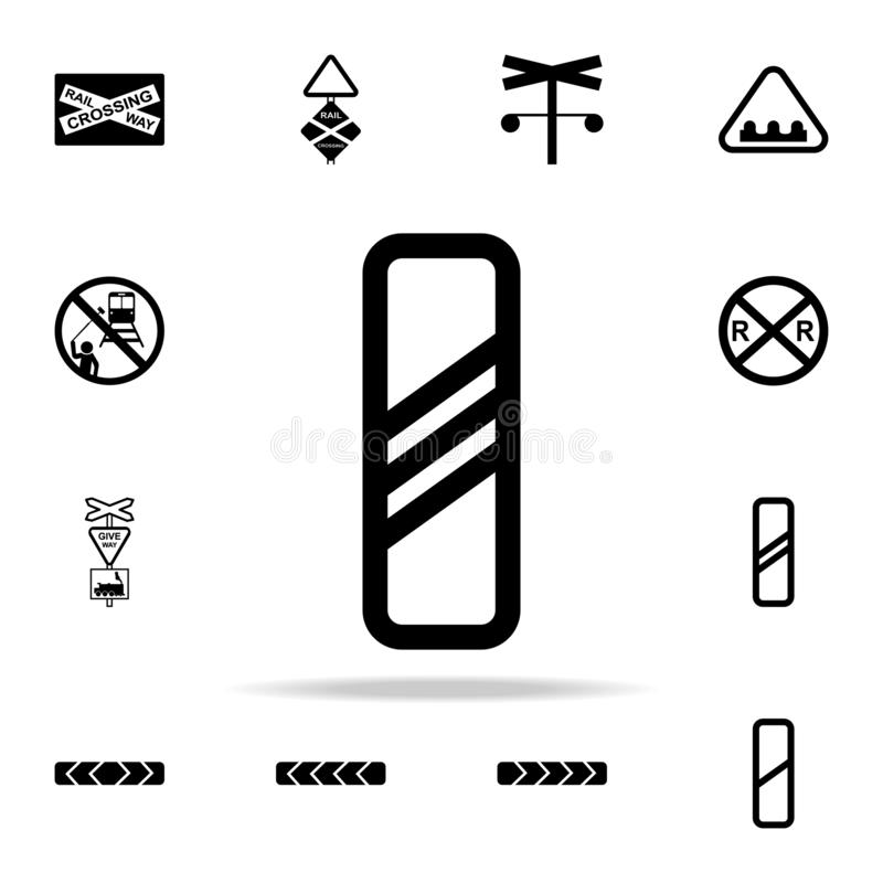 Approaching railway crossing sign icon. Railway Warnings icons universal set for web and mobile. On white background royalty free illustration