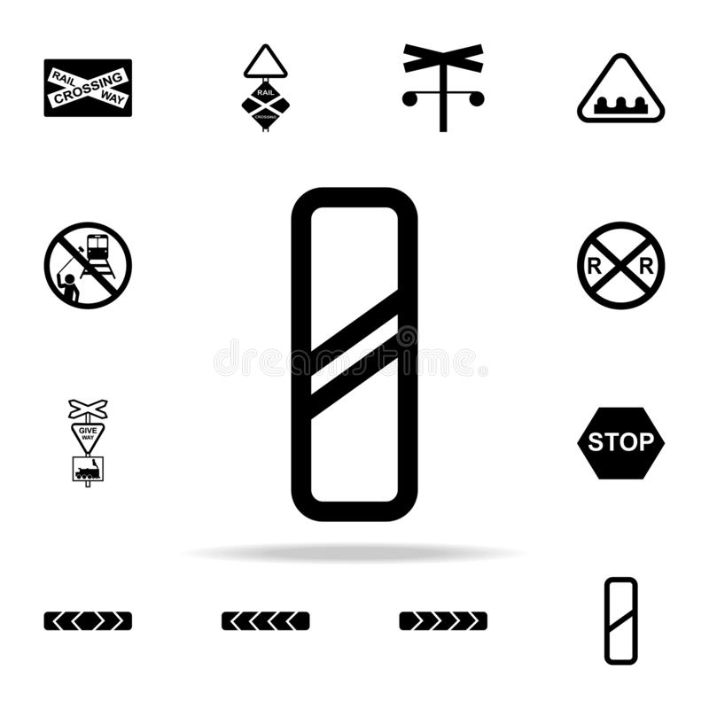 Approaching railway crossing sign icon. Railway Warnings icons universal set for web and mobile. On white background stock illustration