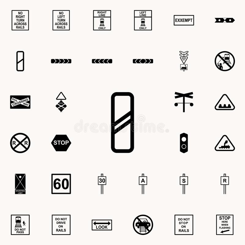 Approaching railway crossing sign icon. Railway Warnings icons universal set for web and mobile. On colored background vector illustration