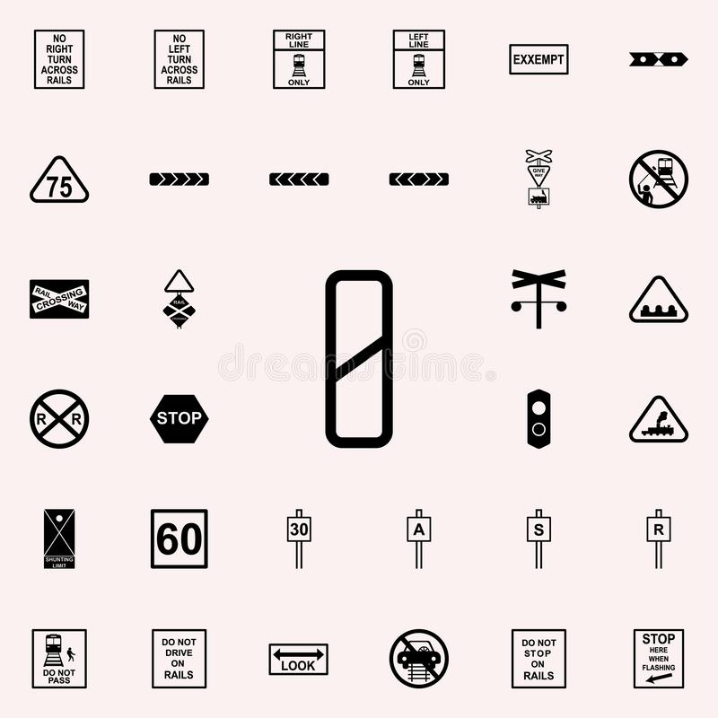 Approaching railway crossing sign icon. Railway Warnings icons universal set for web and mobile. On colored background royalty free illustration