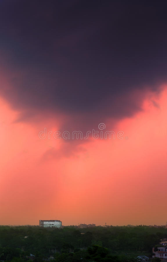 Approaching storm. Over greenry in the evening royalty free stock photos
