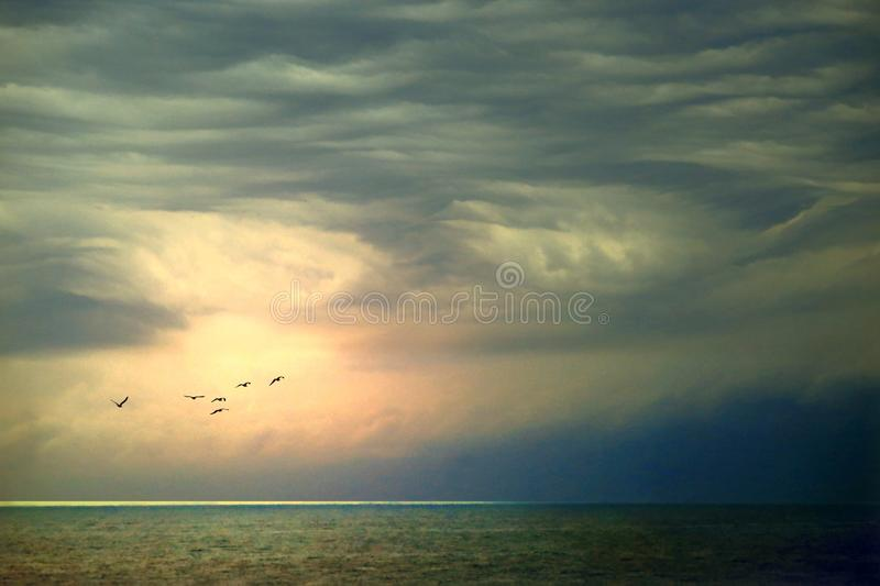 Approaching storm at sea stock photography