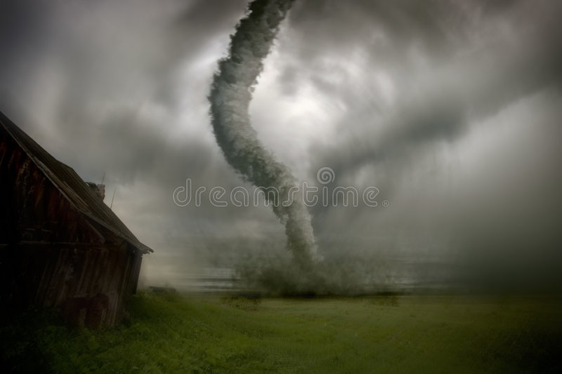 Approaching tornado. Tornado approach to the house image stock photos