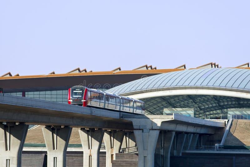 Approaching train at Beijing Capital International Airport. stock photos