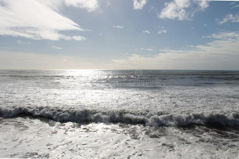 Small Wave, Tasman Sea. Scenic late afternoon view of the Tasman Sea from New Plymouth royalty free stock photography