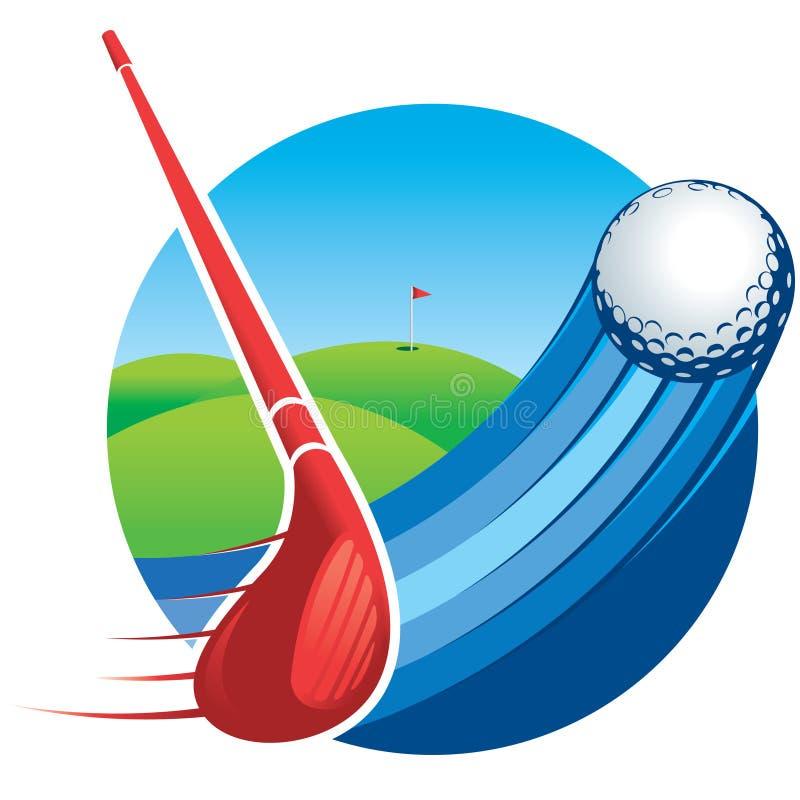 Approccio ad un club di golf rosso che colpisce una palla con le linee di velocità con un campo da golf verde con una bandiera ne royalty illustrazione gratis