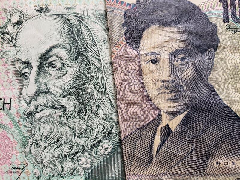 approccio ad una banconota ceca di korun 100 e ad una banconota giapponese di 1000 Yen fotografie stock libere da diritti