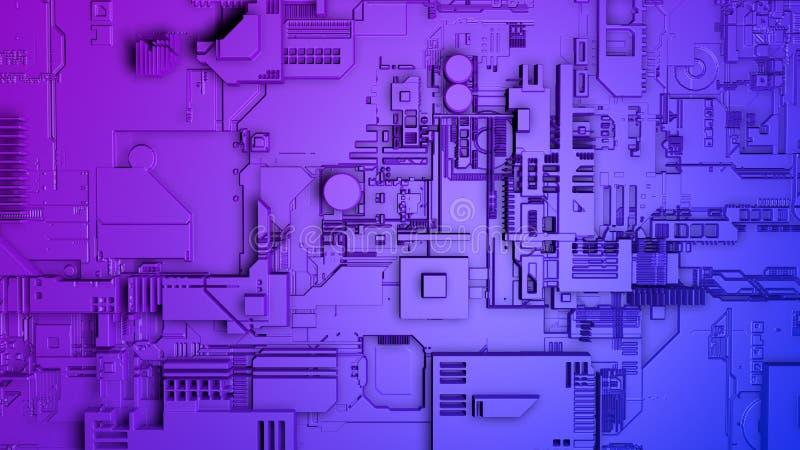 Approche à un mur d'un vaisseau spatial avec la structure métallique complexe dans bleu et pourpre photo libre de droits