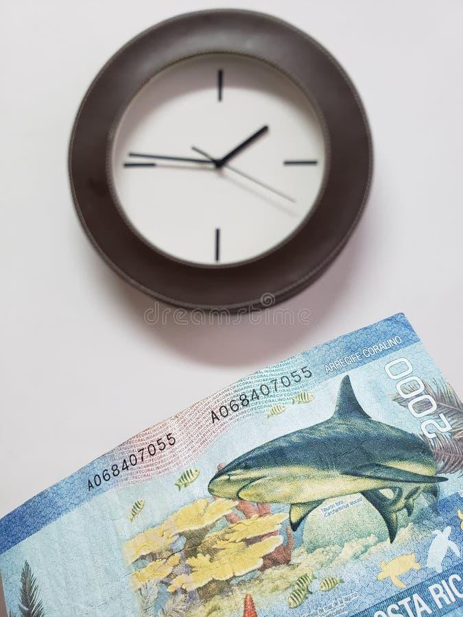 approche au billet de banque de Costa Rican des colones 2000 et du fond avec une horloge murale circulaire image libre de droits