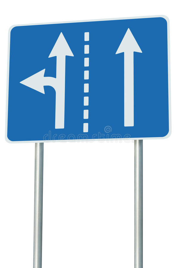 Appropriate traffic lanes at crossroads junction, left turn exit ahead, isolated blue road sign, white arrows, roadside signage. Appropriate traffic lanes at stock photography