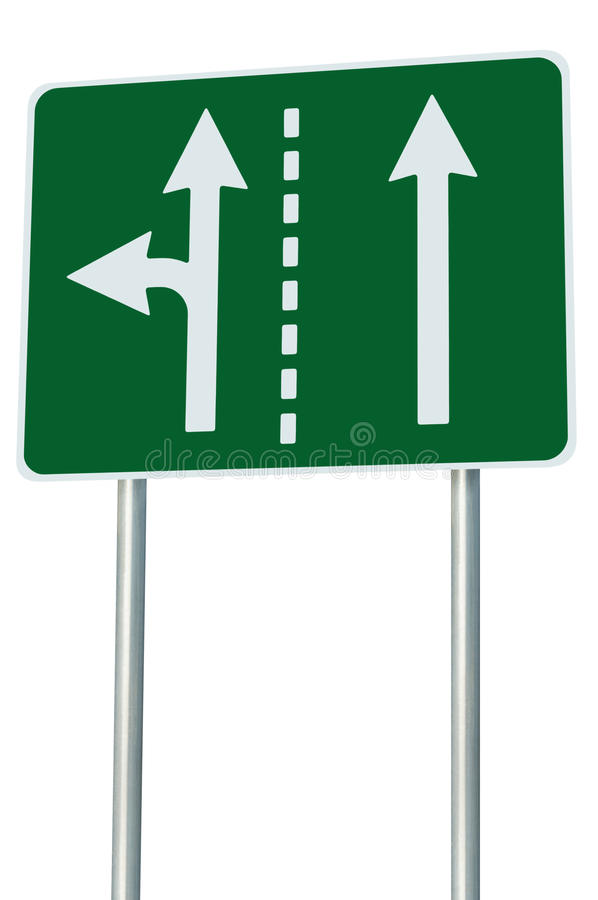 Appropriate traffic lanes at crossroads junction, left turn exit ahead, isolated green road sign, white arrows, EU european. Roadside signage, abstract stock photography