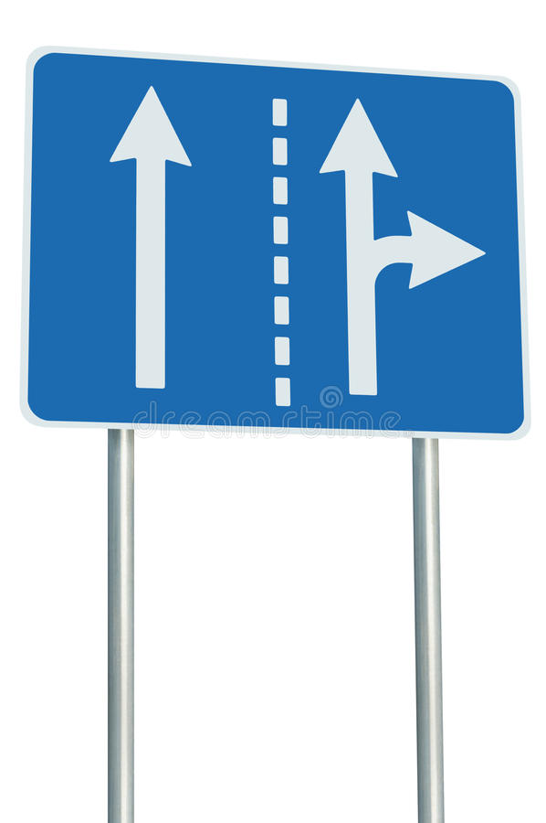 Appropriate traffic lanes at crossroads junction, right turn exit ahead, isolated blue road sign, white arrows, roadside signage. Appropriate traffic lanes at stock photography