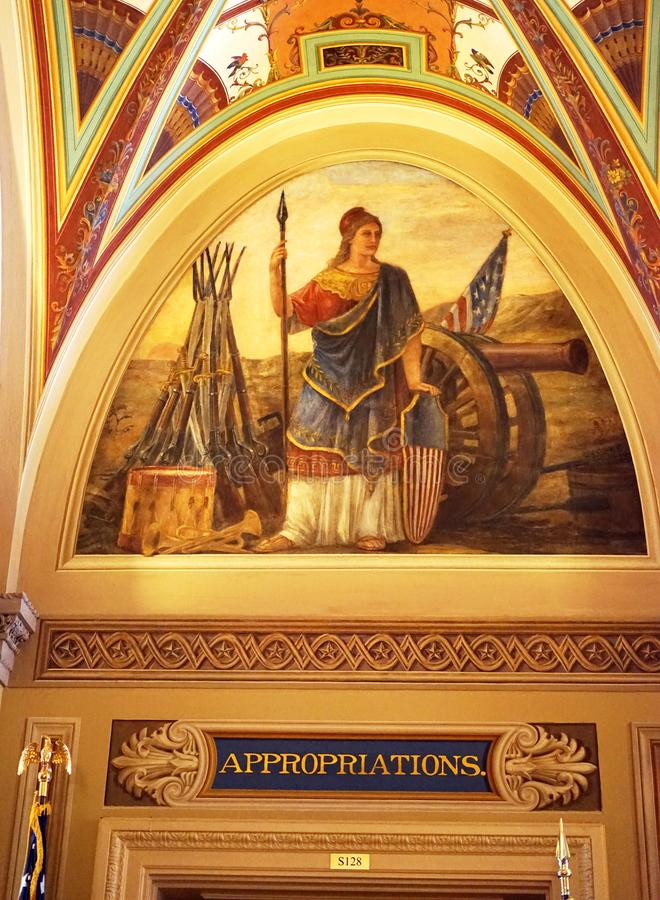 Appropriations committee. In the US capitol, the beautiful architecture and paintings extend to various committee rooms. The Capitol building was first built in royalty free stock photos