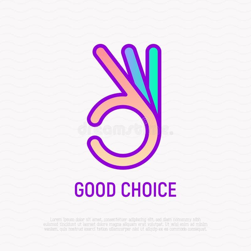 Approuvez le symbole, ligne icône de geste de main Bon choix illustration stock