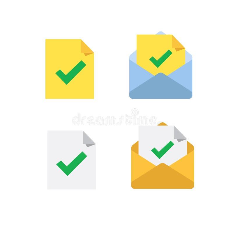 Approuvez ou vérifiez l'ensemble d'icônes de coutil Vérification de document, confirmation d'email, certificat, coche, examen, vé illustration stock