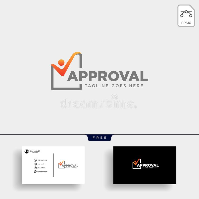 Approval Check, checking logo template vector illustration royalty free illustration