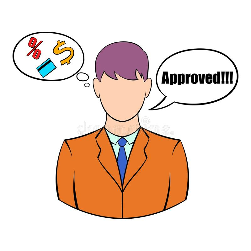 Approval for a loan icon cartoon. Approval for a loan icon in cartoon style isolated vector illustration stock illustration