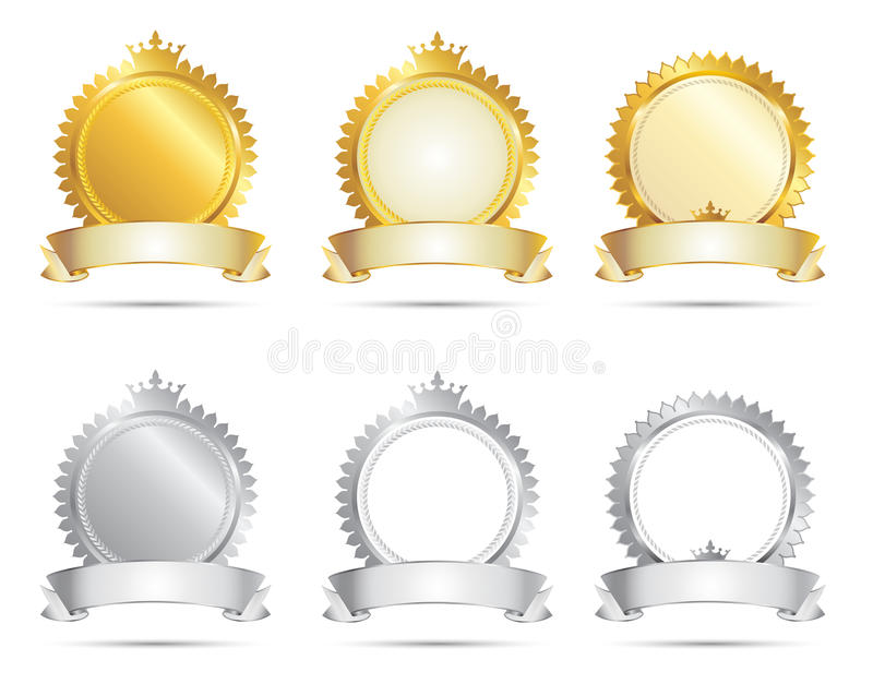 Approval Seal Gold & Silver Set stock illustration