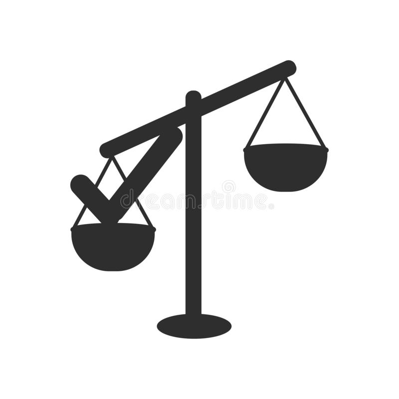 Approval sign on scales icon vector sign and symbol isolated on white background, Approval sign on scales logo concept vector illustration