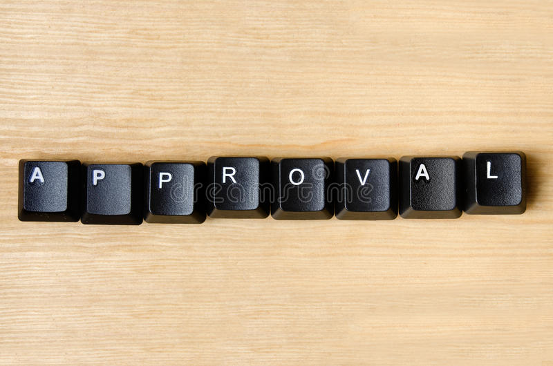 Approval word. With keyboard button stock image