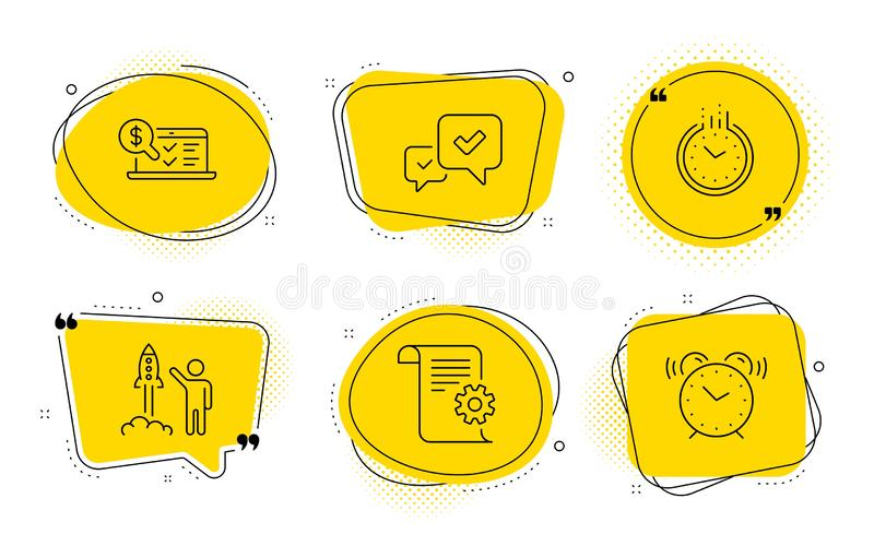 Approve, Launch project and Technical documentation icons set. Time, Online accounting and Alarm clock signs. Vector. Time, Online accounting and Alarm clock stock illustration