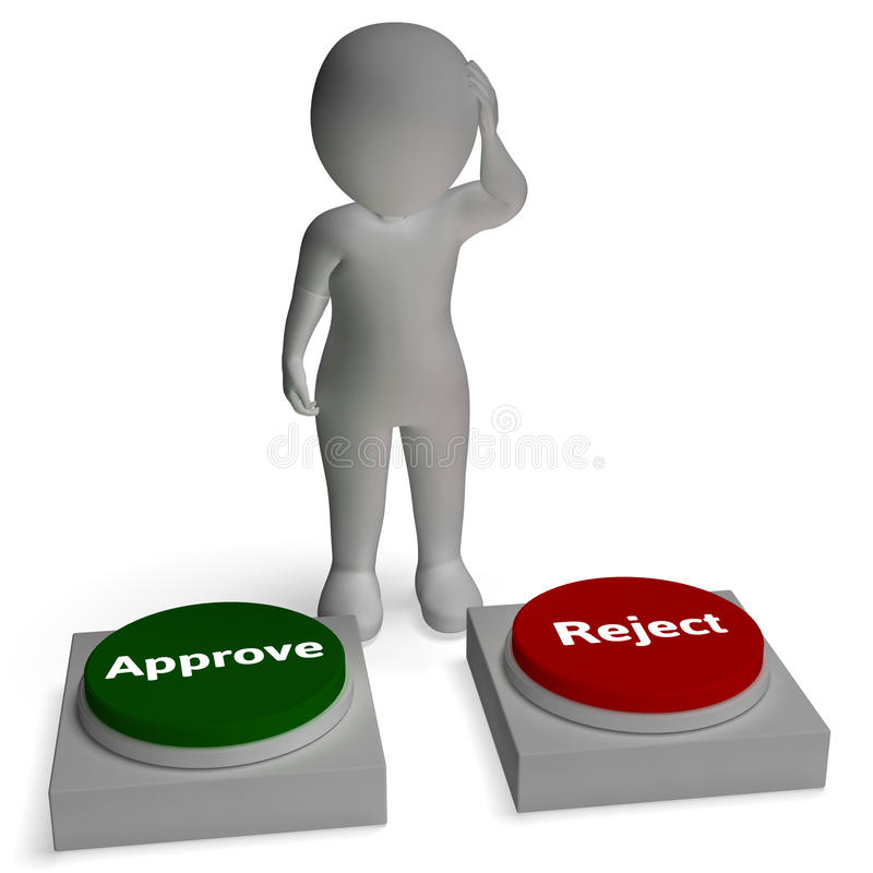 Approve Reject Buttons Shows Approval Or Rejection. Approve Reject Buttons Showing Approval Or Rejection royalty free illustration