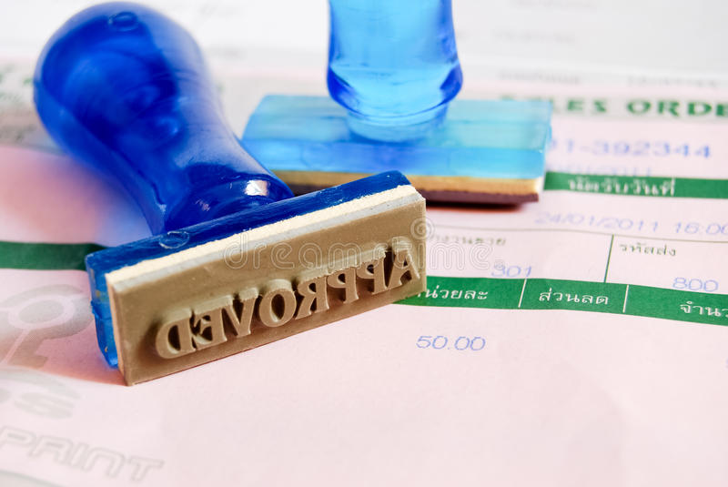 Approve stamp on cash receipt stock photography