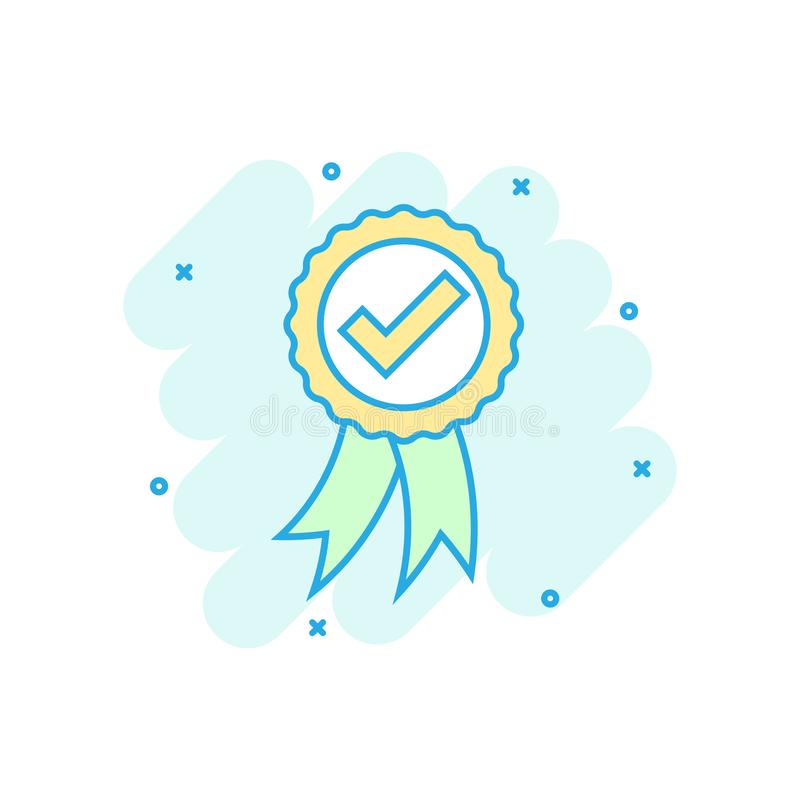 Approved certificate medal icon in comic style. Check mark stamp vector cartoon illustration pictogram. Accepted, award seal vector illustration