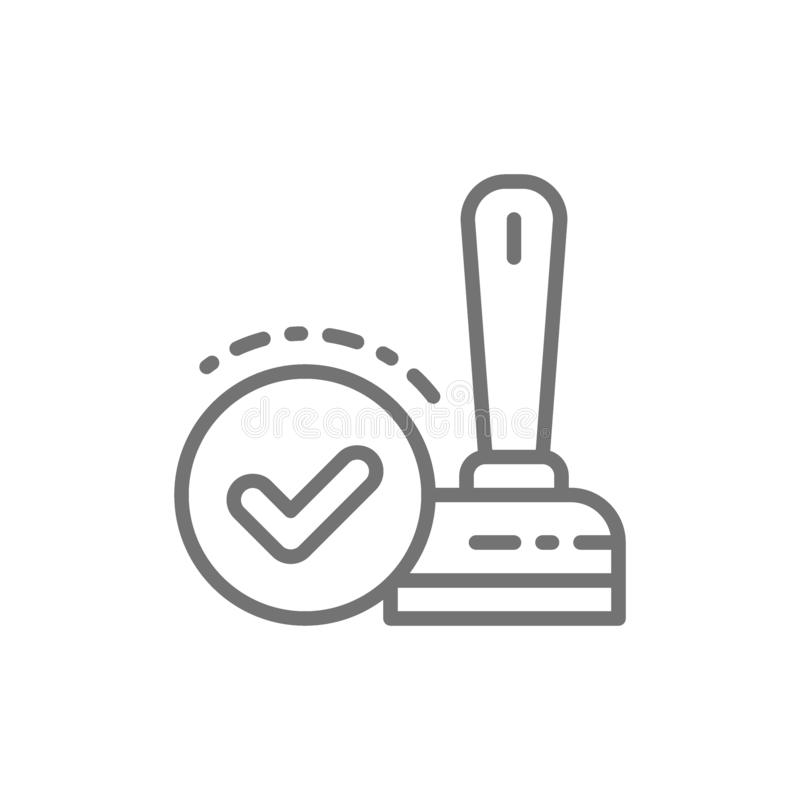 Approved, check mark stamp, verification, validation, quality control line icon. royalty free illustration