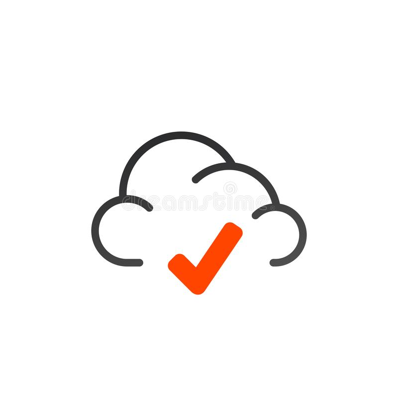 approved connection concept sign symbol. vector cloud checked mark icon. Flat illustration of cloud computing. technology concept royalty free illustration