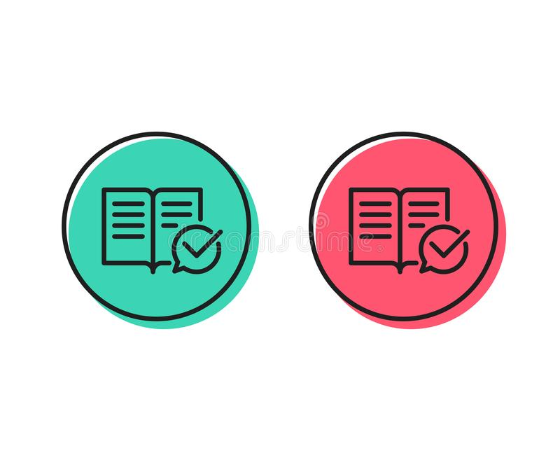 Approved documentation line icon. Accepted or confirmed sign. Vector royalty free illustration